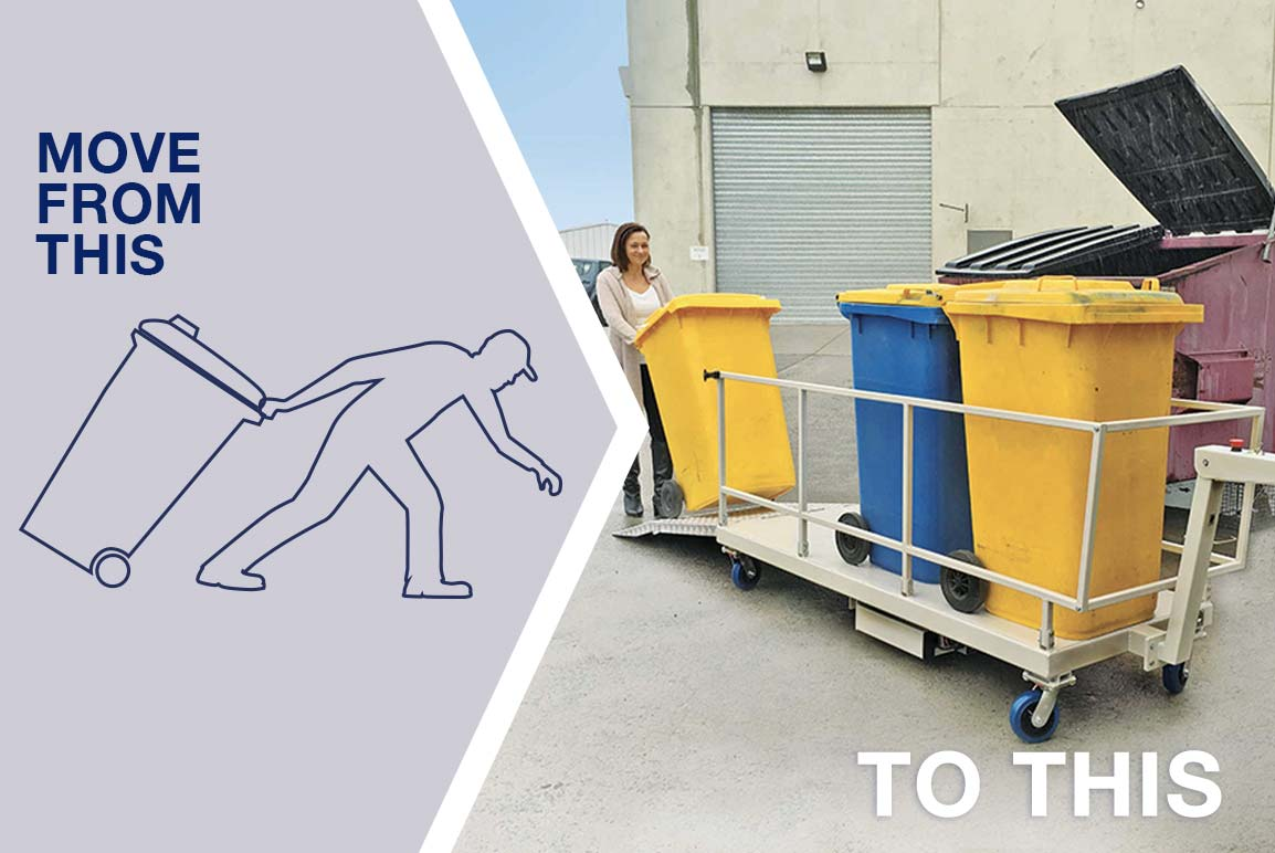 Move safely and easily with a powered bin mover