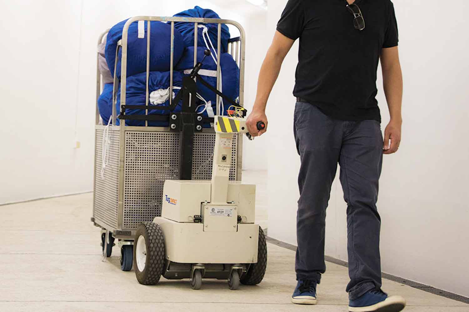 Electrodrive's Tug Compact Linen Mover in action